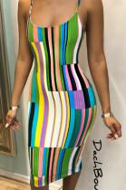 Multi Casual Polyester Striped Sleeveless Spaghetti Strap Open Back Mid Waist Slip Dress OX8011