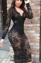 Black Sexy Linen Long Sleeve V Neck Long Dress BBN012