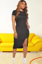 Black Side Split & Twist Shirt Dress CM726