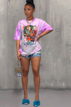 Purple Casual Polyester Tie Dye Cartoon Graphic Short Sleeve Round Neck Tee Top TRS1029