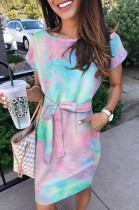 Colourful Casual Polyester Tie Dye Short Sleeve Round Neck Waist Tie High Waist Long Dress K8898
