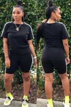 Black Casual Sporty Short Sleeve Round Neck Utility Blouse Skinny Top Pants Sets SN3756