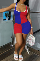 Blue Red Casual Polyester Sleeveless Spliced Tank Jumpsuit CY1239
