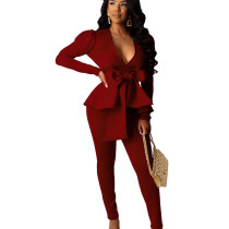 Burgundy Female Plain Color Business Sets V Neck Ruffle Top Skinny Pants CM639
