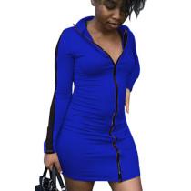 Blue Cheap Women Bodycon Zipper Casual Long Sleeved Mini Dress N9181
