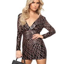 Latest Glitter Sequins Bodycon Sexy V Collar Backless Mini Dress JLX8925