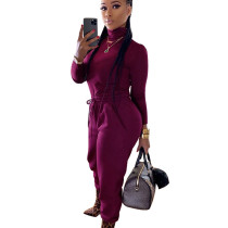 Wine Red High Collar T-Shirt Elastic Waist Bodycon Pants Newest Winter Outfits K8874