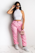Pink Solid Elastic Waist Ruched Details Jogger Pants XZ3542