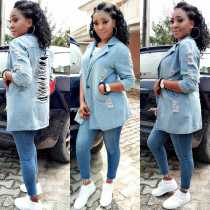 Trendy Jeans Hollow Out Women Coat LD8219
