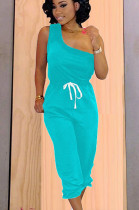 Blue asymmertrical one shoulder short matching set with selt-tied TRS1005