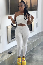 White Casual Polyester Sleeveless Halterneck Cami Jumpsuit ED8229