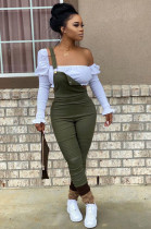 Olive Green Casual Polyester Buttoned Ruffle Mid Waist Long Pants S6220