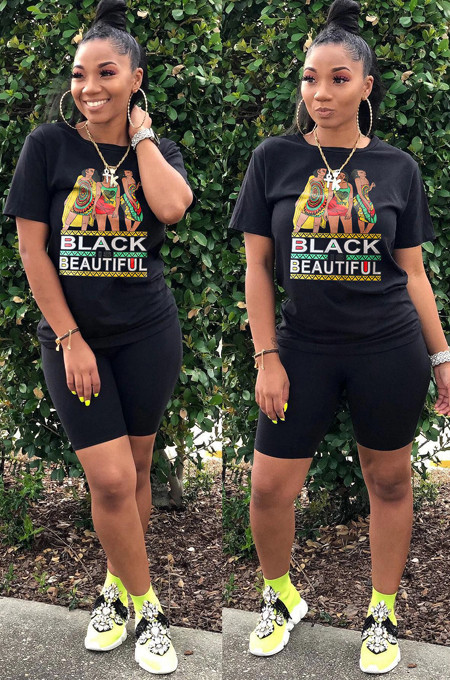 Black Casual Letter Cartoon Graphic Short Sleeve Round Neck Tee Top Shorts Sets SN3762