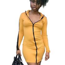 Yellow Cheap Women Bodycon Zipper Casual Long Sleeved Mini Dress N9181