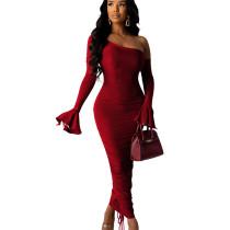 Wine Red Elegant Slim Pleated Solid Color Oblique Shoulder Long Dress SDD9207