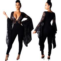 Black Lace Surplice Neck Bodycon Jumpuits R6138