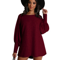 Wine Red Factory Price Comfy Long Sleeved Pure Color Leisure Dress KA7068