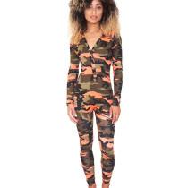 Orange Unique Button Camouflage V Collar Tight Jumpsuit For Sale WY6647