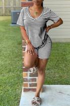 Black Casual Cotton Striped Short Sleeve V Neck Tee Top Shorts Sets K8914
