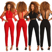 Solid See Through Mesh Beading Bodycon Jumpsuits QZ3263