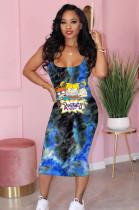 Blue Comic Graphic Print Cami Long Dress TK6077