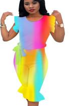 Colorful watercolor print off shoulder pleated rim pants set Q120