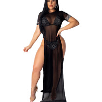 Black Sexy Underwear Long Mesh See Through Dress YT3109
