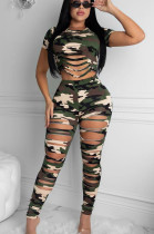 Green Casual Polyester Camo Short Sleeve Round Neck Ripped Tee Top Long Pants Sets ZS0308