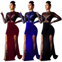Sexy Black Mesh Evening Party Long Dress QQM3586