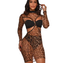 Leopard Print Cheap Perspective Hollow Out Dress 3 Pieces Sexy Printed Outfits MY9557
