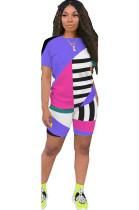 Purple Patched Color T-shirt & Shorts Sets GL6263