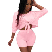 Pink Solid Wrap Crop Tops Elastic Shorts Outfits QQ5102