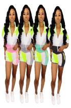 Color Patchwork Women Suits Zipper Coat +Sport Shorts MDO9031