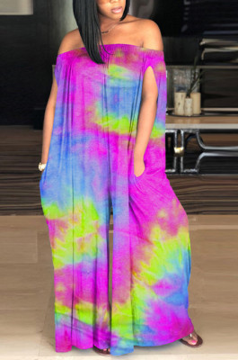 Purple Casual Polyester Tie Dye Off Shoulder Tube Jumpsuit SM9098