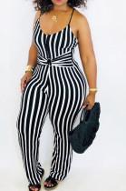 Black Sexy Polyester Striped Sleeveless Cami Jumpsuit LMM8162