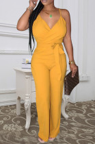 Yellow Casual Polyester Sleeveless V Neck Cami Jumpsuit Q591