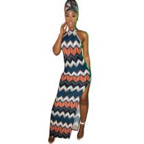 Sexy Women Split Printing Sleeveless Long Dress DN8173