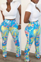 Blue Casual Polyester Geometric Graphic Short Sleeve Waist Tie Ruffle Tee Top Long Pants Sets SN3826