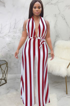 Red two tones back criss-cross front self-tied loose wide leg jumpsuit SMR9556
