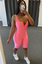 Pink Flexible Front Half Zip Up Tanks Romper Jumpsuit ALS170