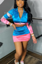Pink Casual Polyester Long Sleeve Spliced Utility Blouse Above Knee / Short Skirt Sets CCY8512