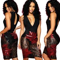 Hot Sell Mesh Patchwork Sequin Sleeveless Dress JLX8582
