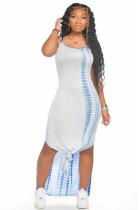 Light Blue Sexy Sleeveless Round Neck Split Hem Slip Dress AMM8235