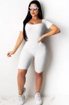 White Square Neck Stripes Texture Boydcon Romper Short Jumpsuit YX9192