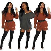 New Design Pure Color Sweater Ladies Mini Dress SY8302