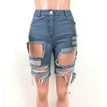 Trending Casual Ripped Slit Midi Jeans Shorts LA3108