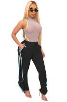 Black Shirred Details Elastic Skinny Flounce Split Stripe Side Pants CYF3544