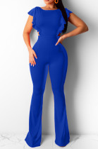 Blue Casual Polyester Sleeveless Round Neck Backless Bodycon Jumpsuit BBN051