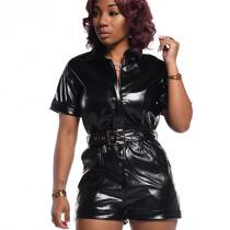 Black Faux Leather Short Jumpsuit with Belt BS1157