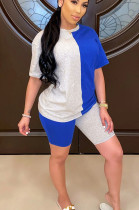 Blue Grey Casual Polyester Short Sleeve Round Neck Spliced Tee Top Shorts Sets SN3830